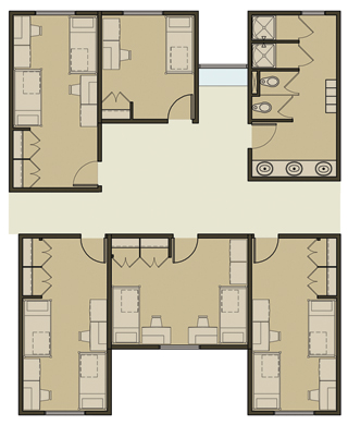 Photo: rendering of how a 5-bedroom, 1-bathroom cluster may be arranged
