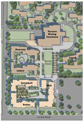 Photo: Campbell, Potter and Wall Halls will be located directly south of Kearney and Laben Halls in the Tercero residence hall area