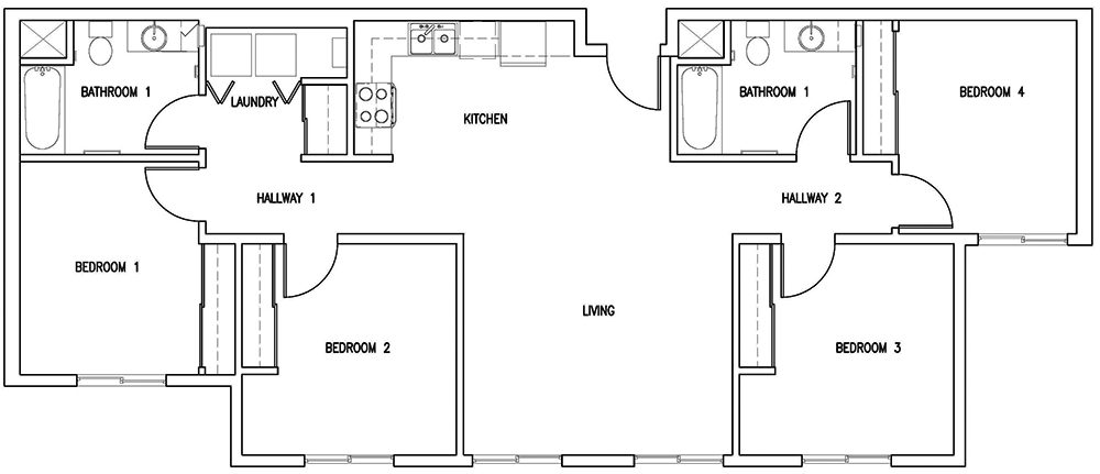 8th & Wake floor plan for 4 bedroom, 2 bathroom flat