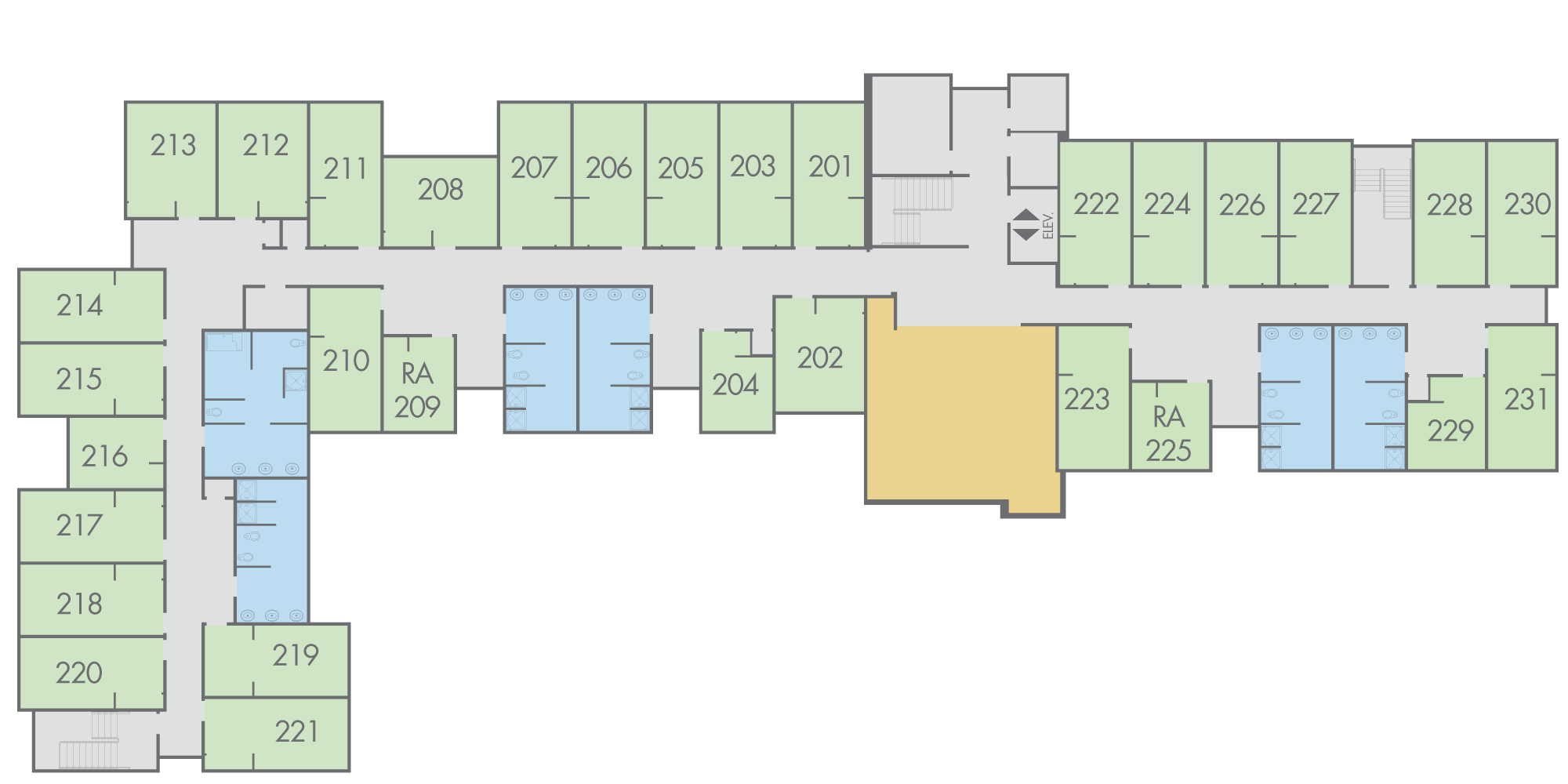 Floor Plan: Campbell Hall, Second Floor