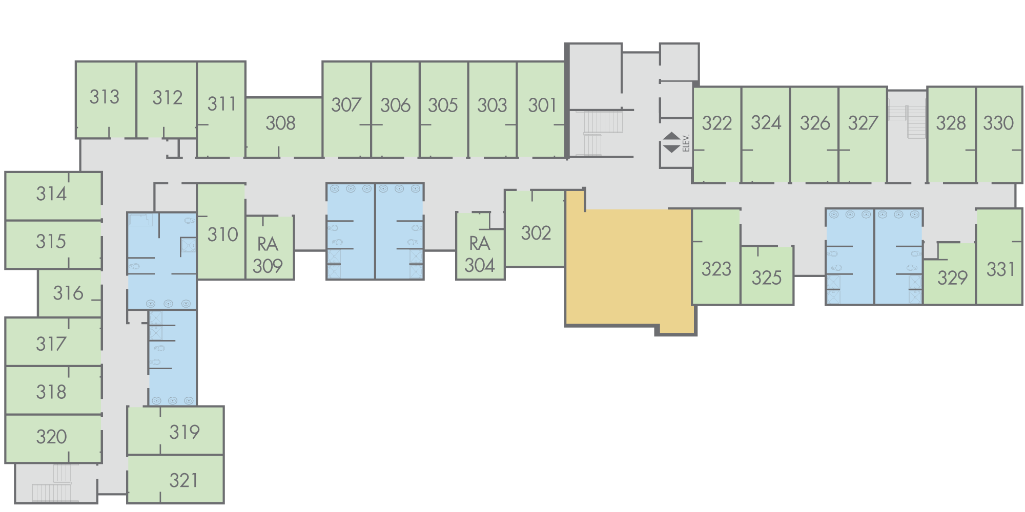 Floor Plan: Campbell Hall, Third Floor