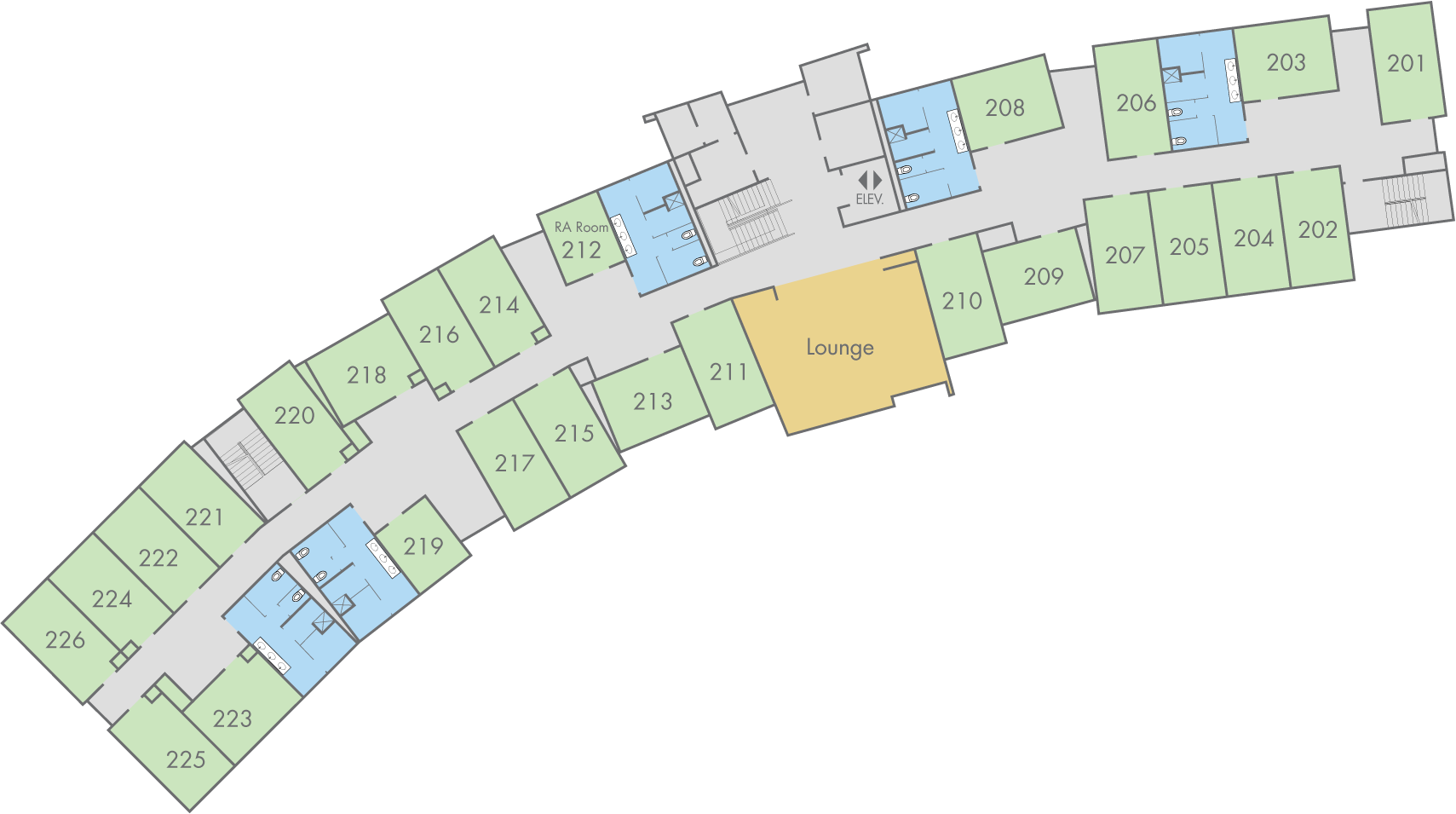 Floor Plan: Cottonwood Hall, Second Floor