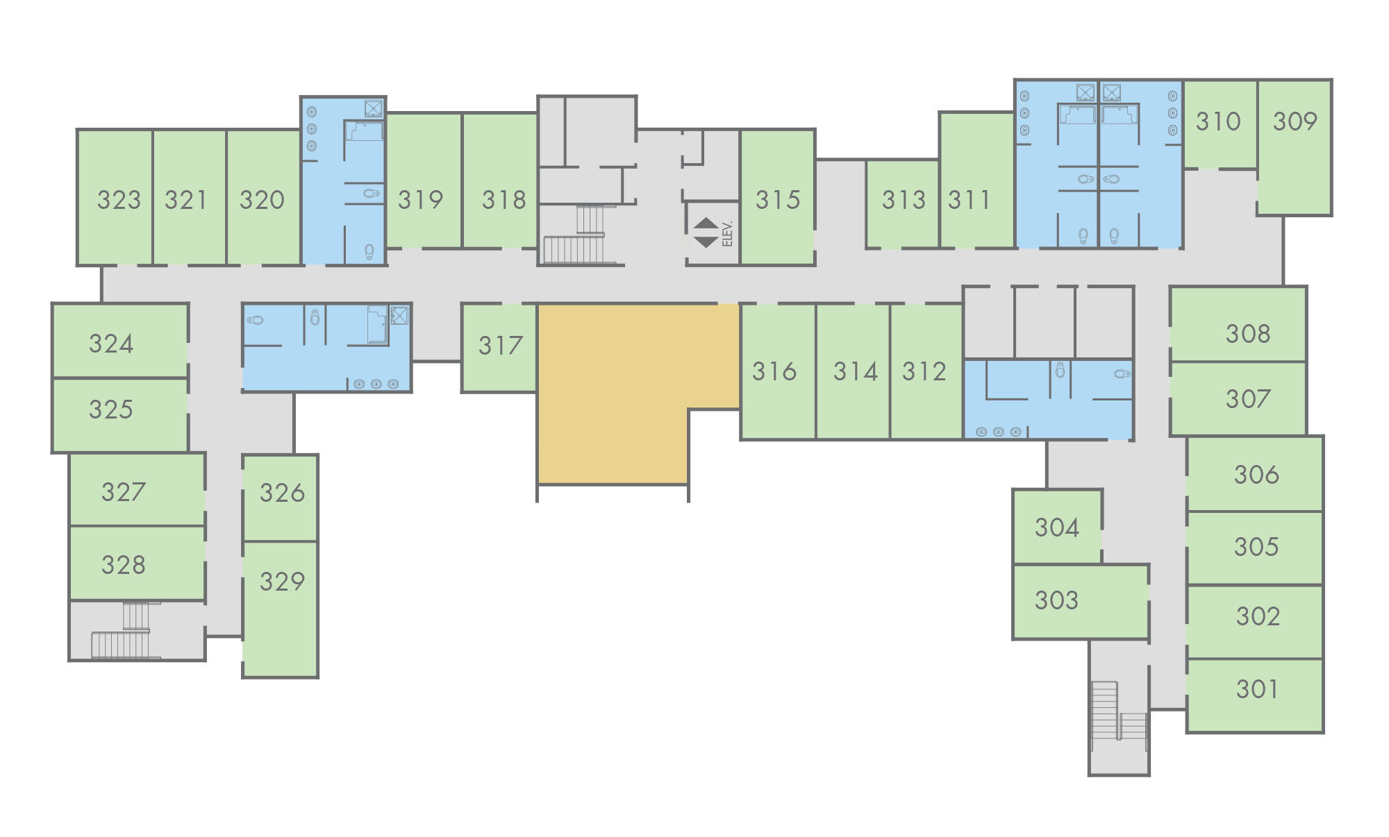 Floor Plan: Live Oak Hall, Third Floor