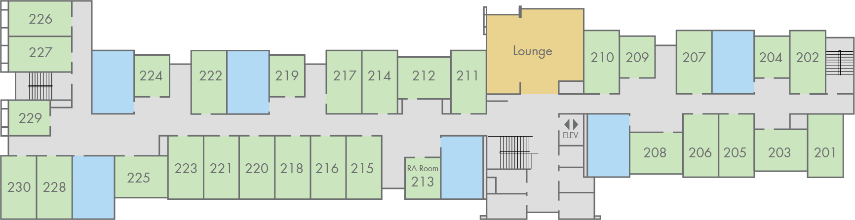 Floor Plan: Madrone Hall, Second Floor