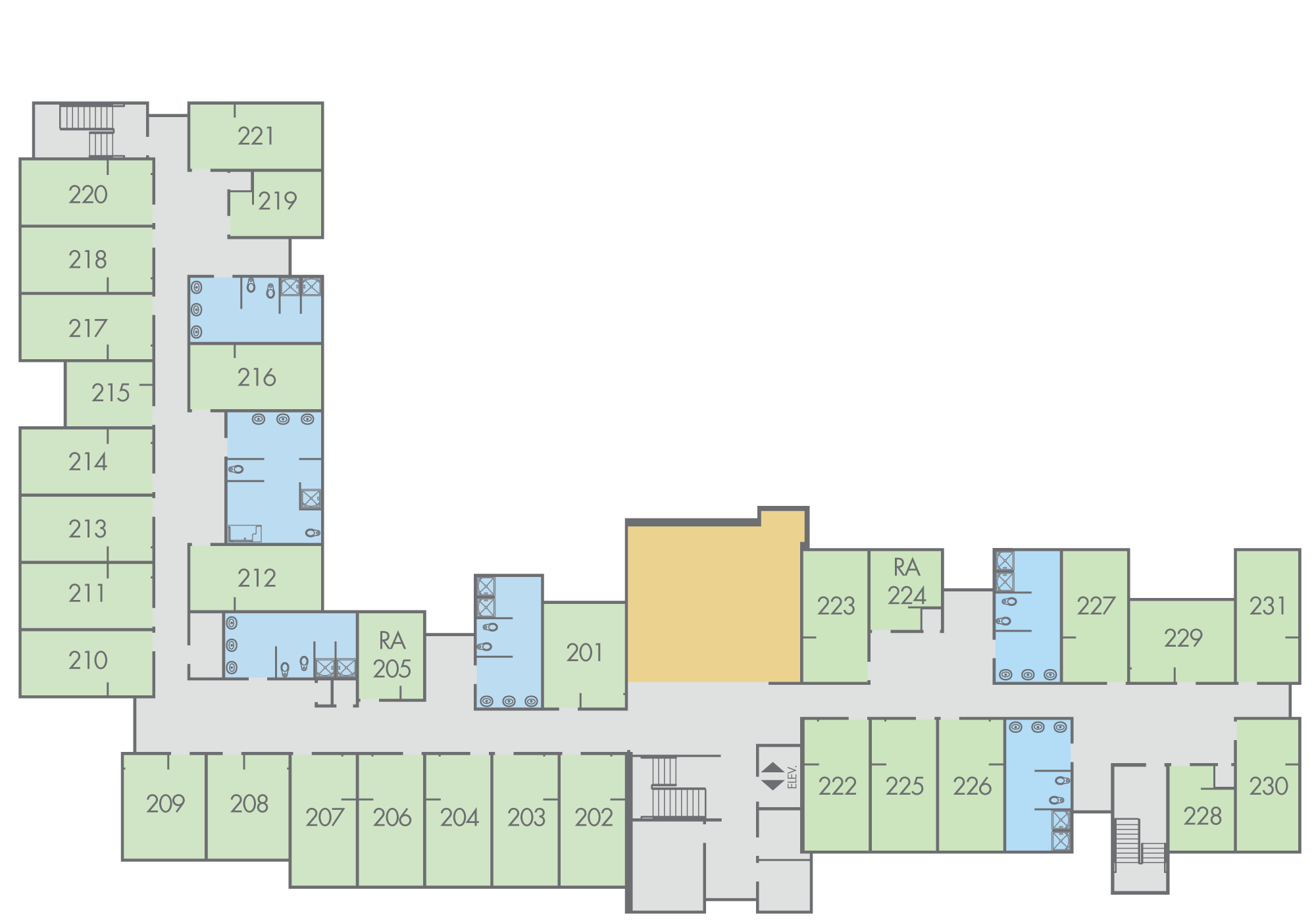 Floor Plan: Potter Hall, Second Floor