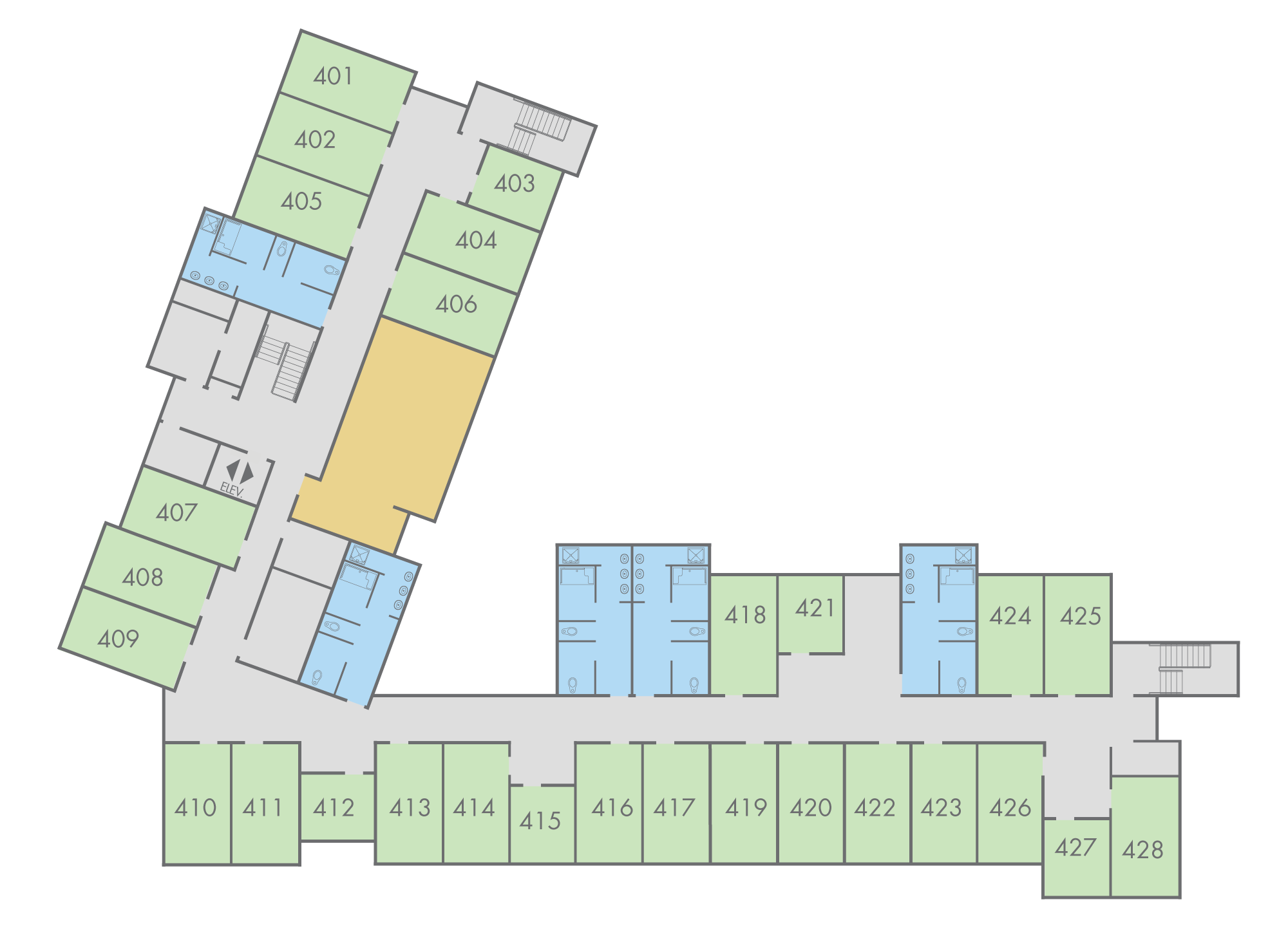 Floor Plan: Scrub Oak Hall, Fourth Floor
