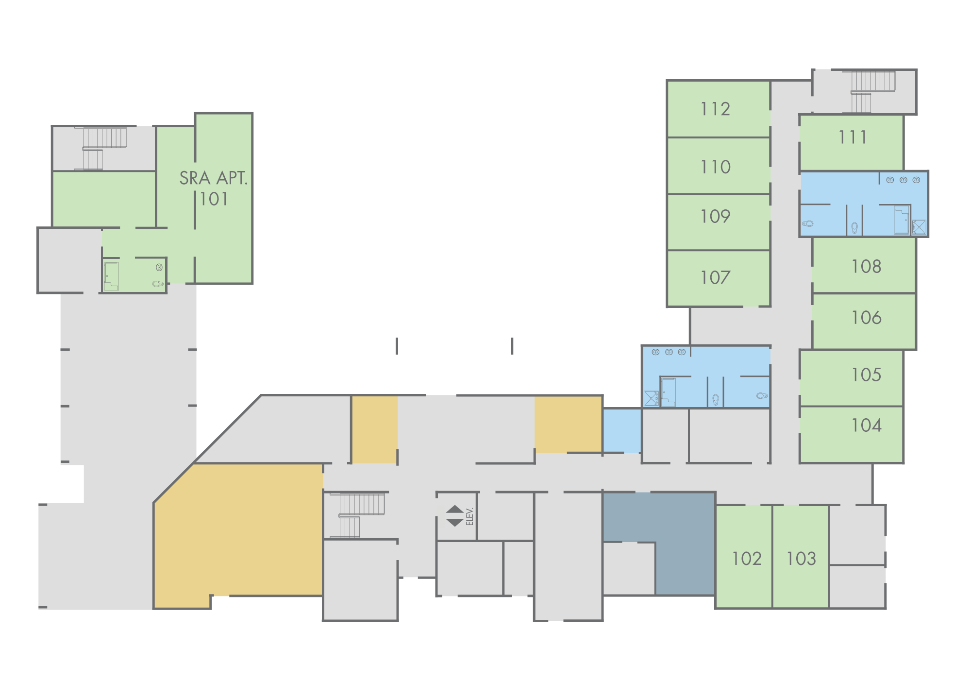 Floor Plan: Sequoia Hall, First Floor