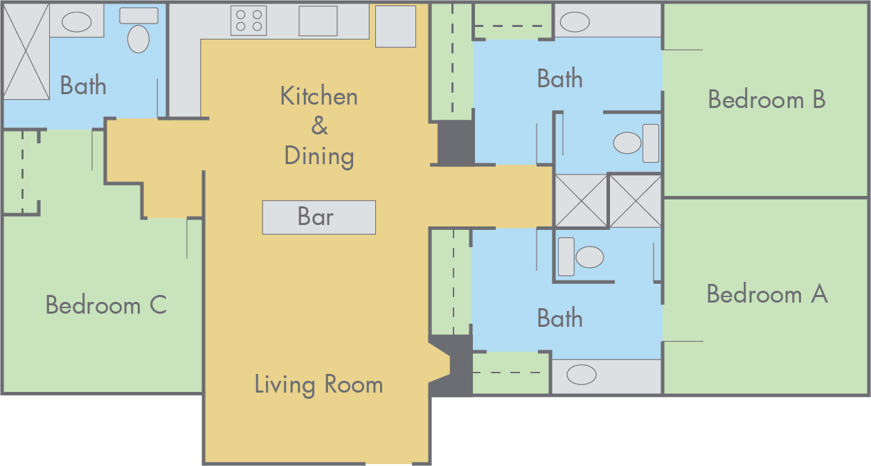 suites at adobe floor plan 3 bedroom 3 bathroom flat