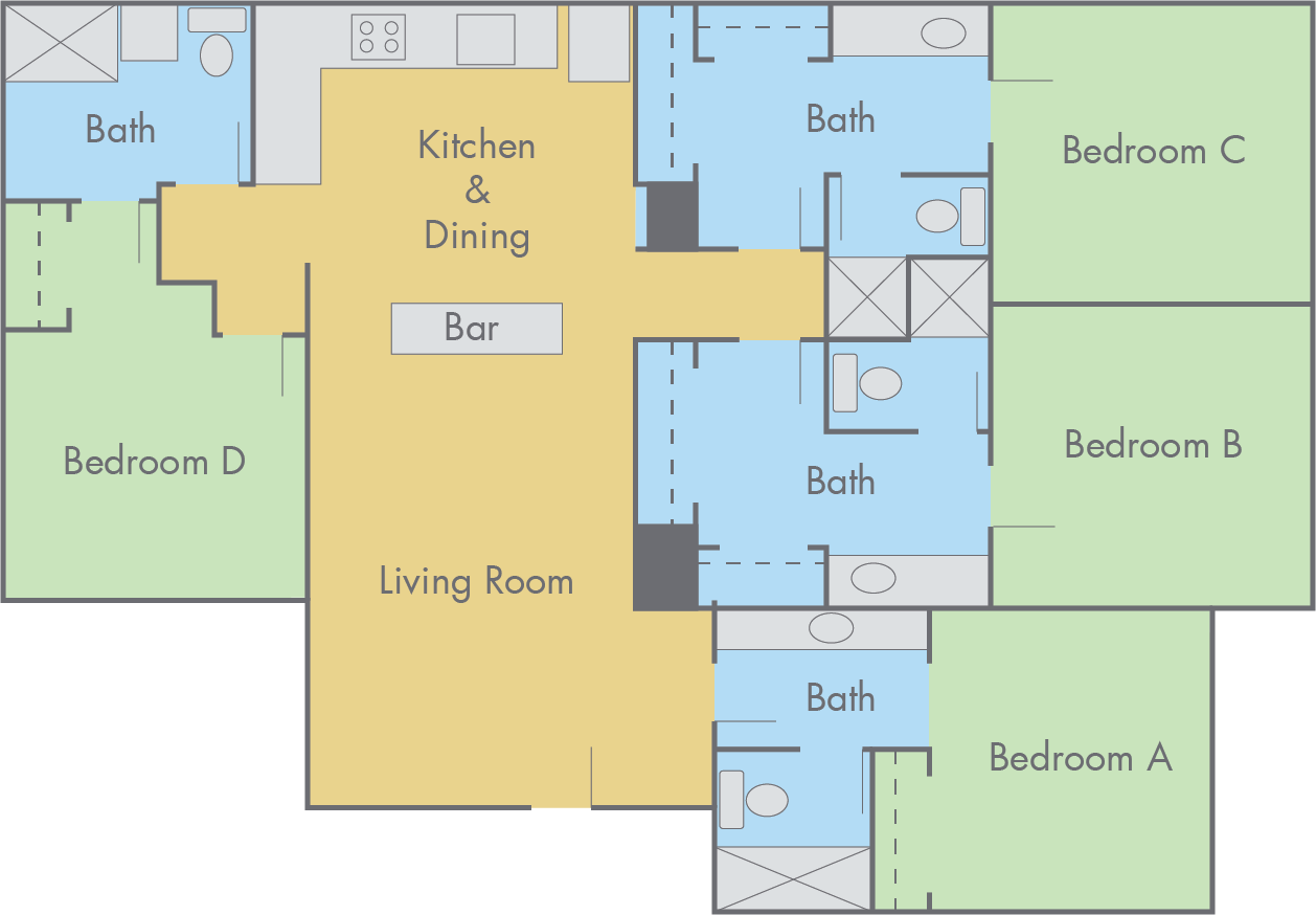Suites at Adobe Floor Plan - 4 Bedroom, 4 Bathroom Flat
