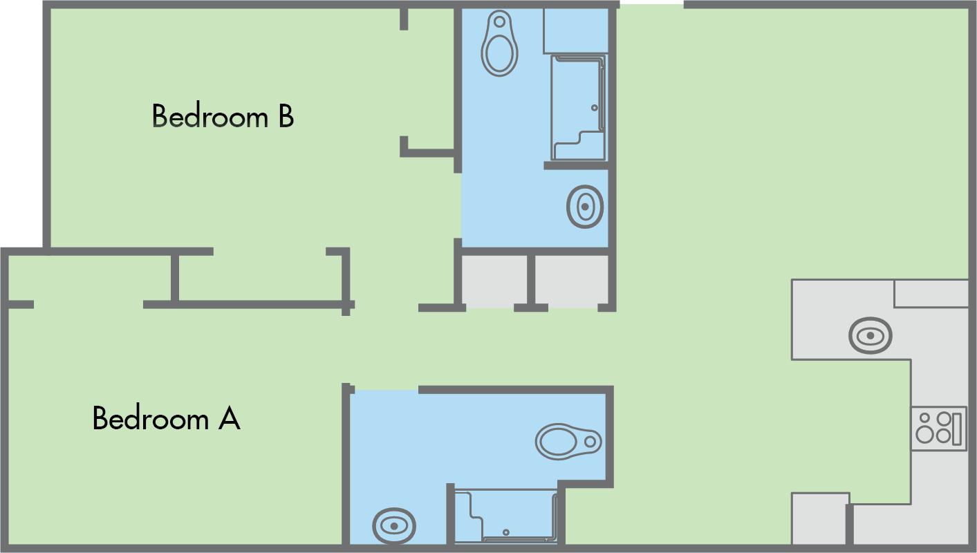 The Colleges Floor Plan 2 Bedroom