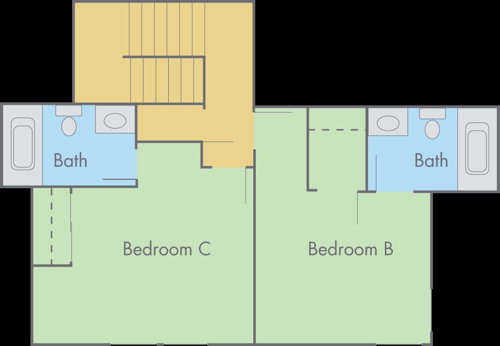 The lexington floor plan 3 bedroom 3 bathroom townhouse for Three bedroom townhouse floor plans