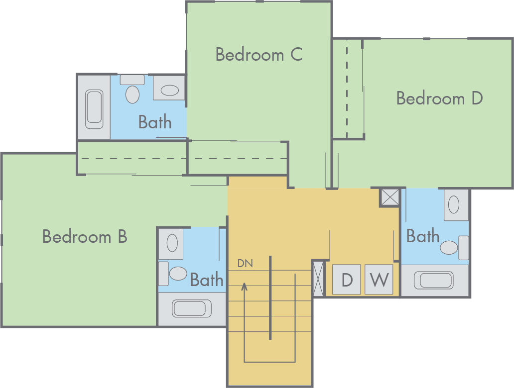 Best townhome floor plans joy studio design gallery for Four bedroom townhomes
