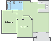 Graphic: Primero Grove 2 bedroom floor plan