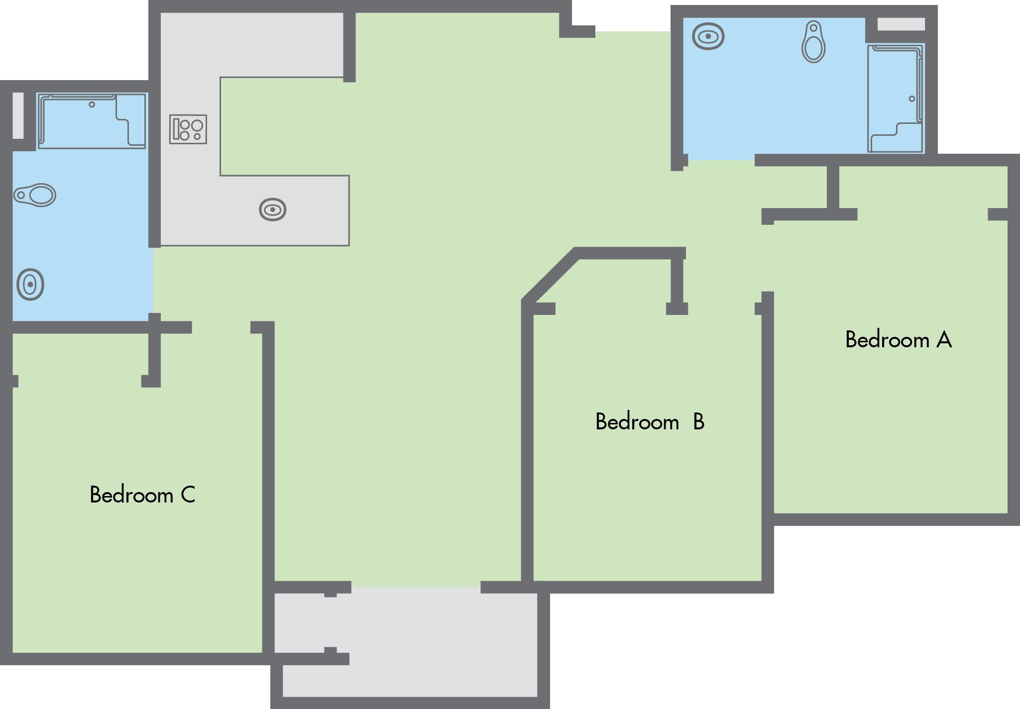 Ordinary 3 Bedroom 2 Bathroom #6: 3 Bedroom, 2 Bathroom Flat
