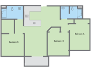 Graphic: Primero Grove 3 bedroom floor plan