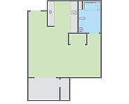 Graphic: Primero Grove studio floor plan