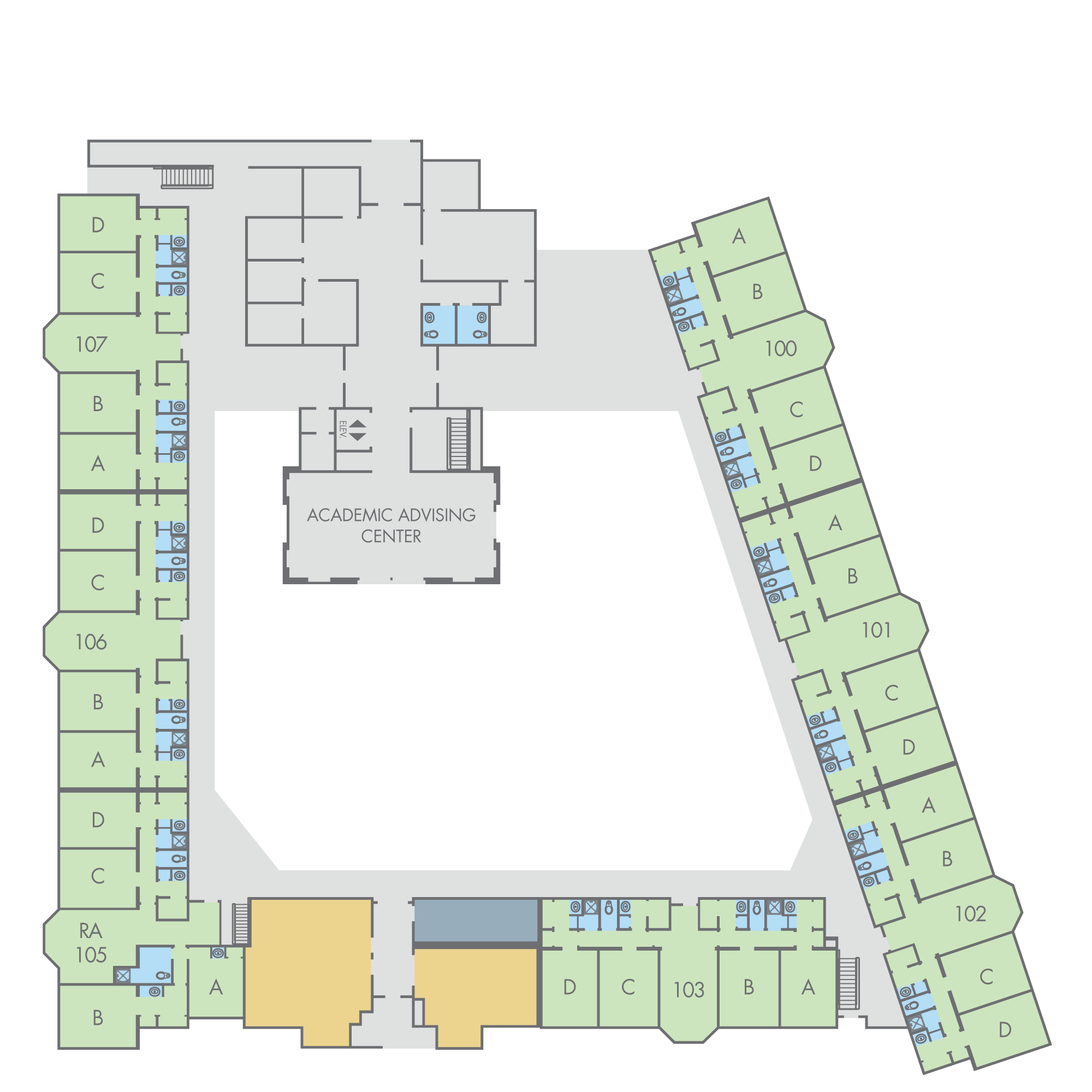 Floor Plan: Thoreau Hall, First Floor