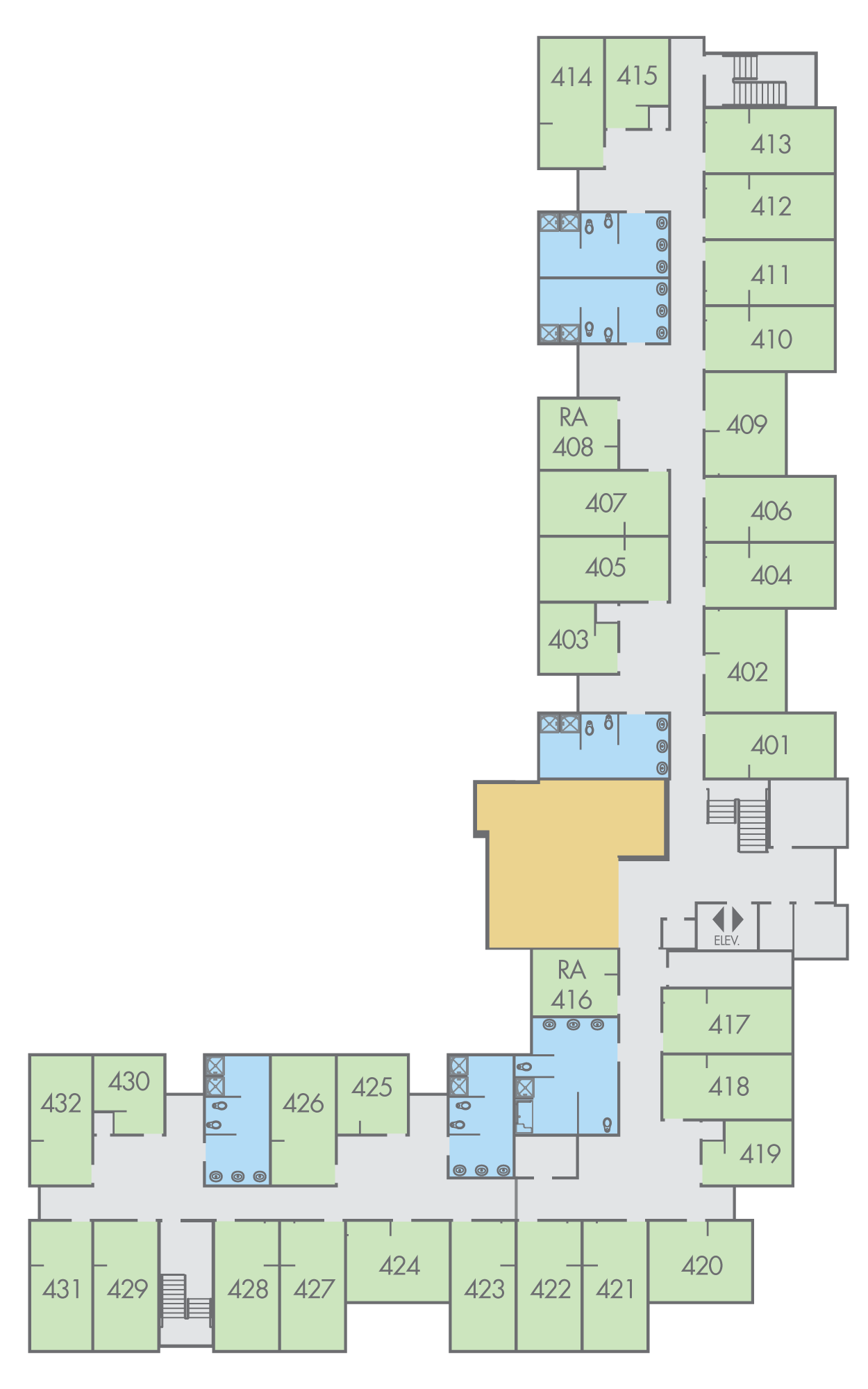 Floor Plan: Wall Hall, Fourth Floor