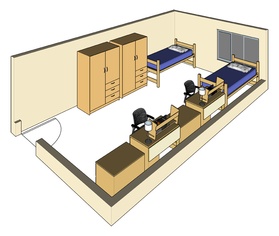 Illustration: projection of an Miller Hall triple-occupancy room