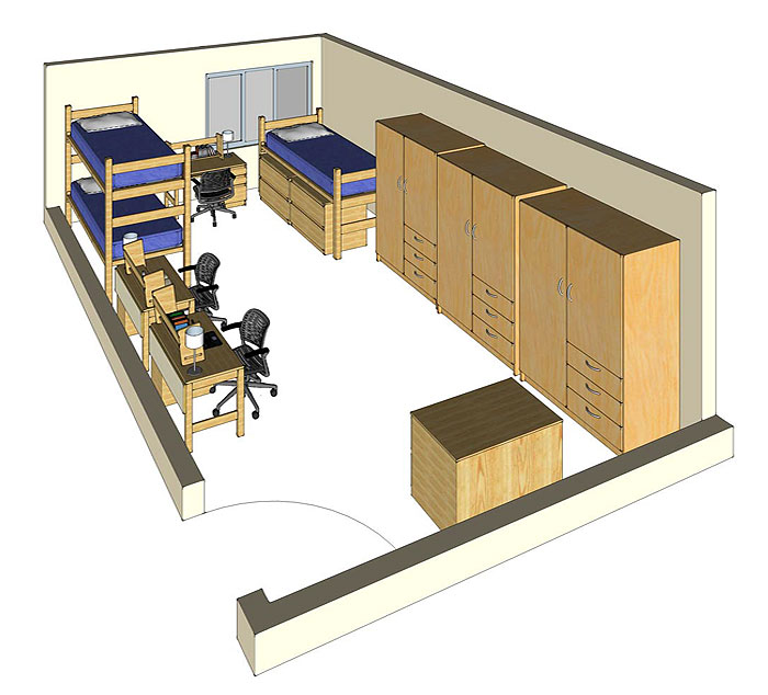 Illustration: projection of a Miller Hall triple-occupancy room