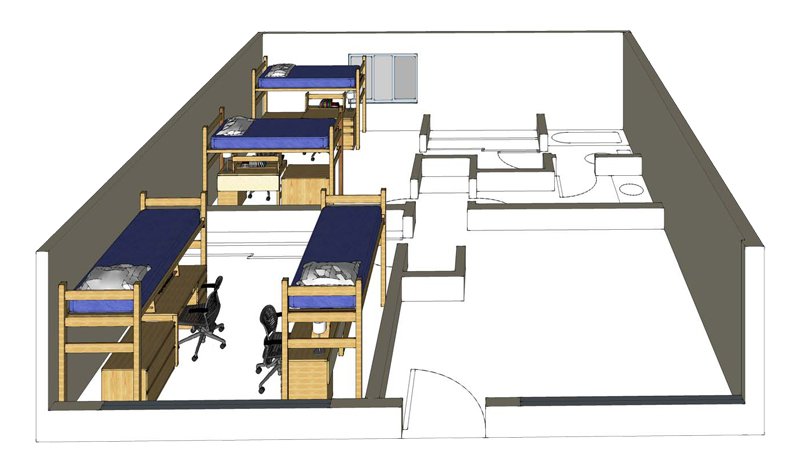 Illustration: projection of an Emerson Hall 4-person suite
