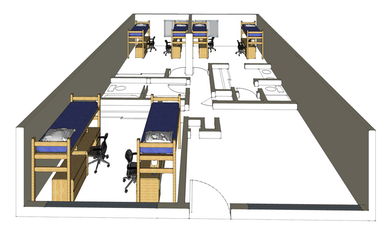 Illustration: projection of an Emerson Hall 6-Person Suite
