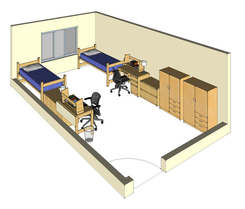 Illustration: projection of a Kearney Hall double-occupancy room