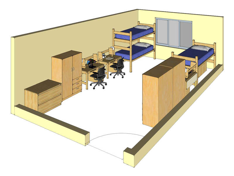 Illustration: projection of a Kearney Hall triple-occupancy room