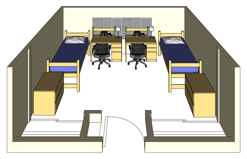 Illustration: projection of a Regan Hall double-occupancy room