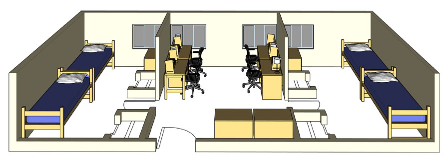 Illustration: projection of a Regan Hall double-occupancy quad configuration