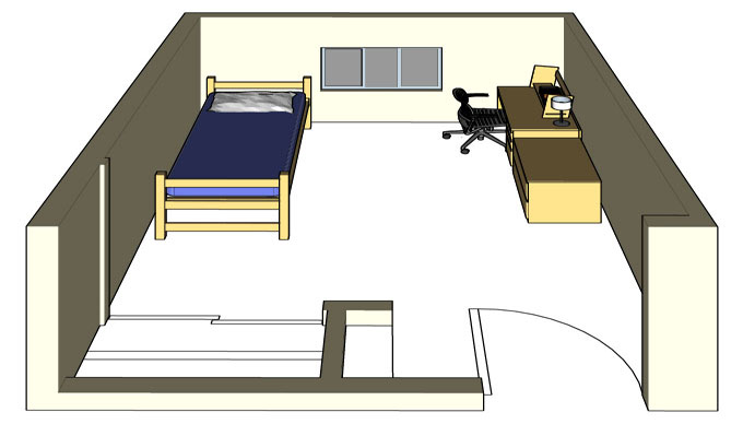Illustration: projection of a Regan Hall single-occupancy room