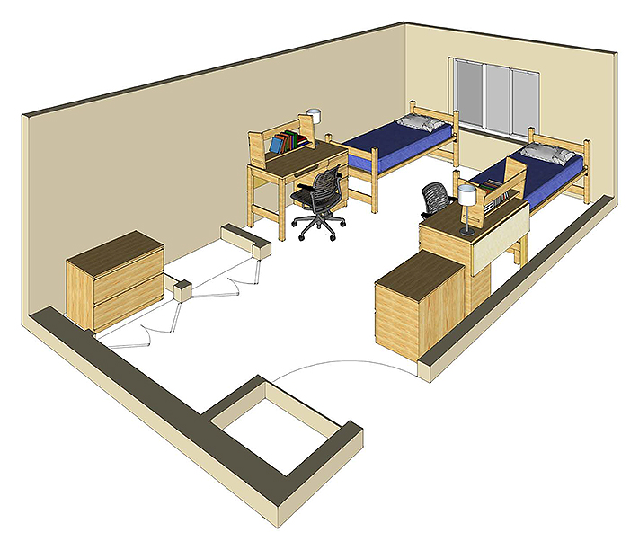 Illustration: projection of a Live Oak Hall double-occupancy room