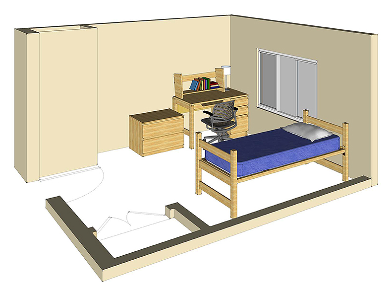Illustration: projection of a Scrub Oak Hall single-occupancy room