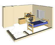 Graphic: Single Occupancy 3-D room rendering