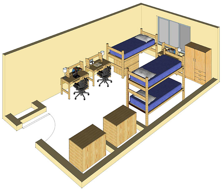 Illustration: projection of a Scrub Oak Hall triple-occupancy room