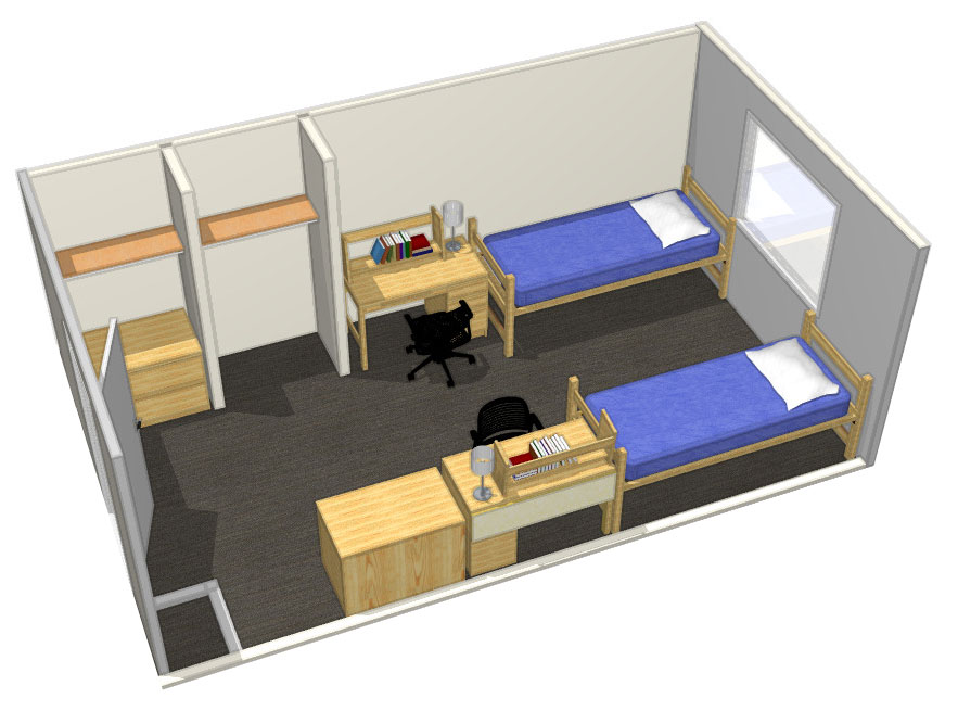 Illustration: projection of a Redwood Hall double-occupancy room