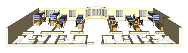Illustration: projection of a Thoreau Hall 8-Person Suite