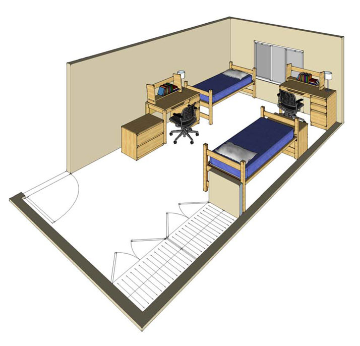 Illustration: projection of a Wall Hall double-occupancy room