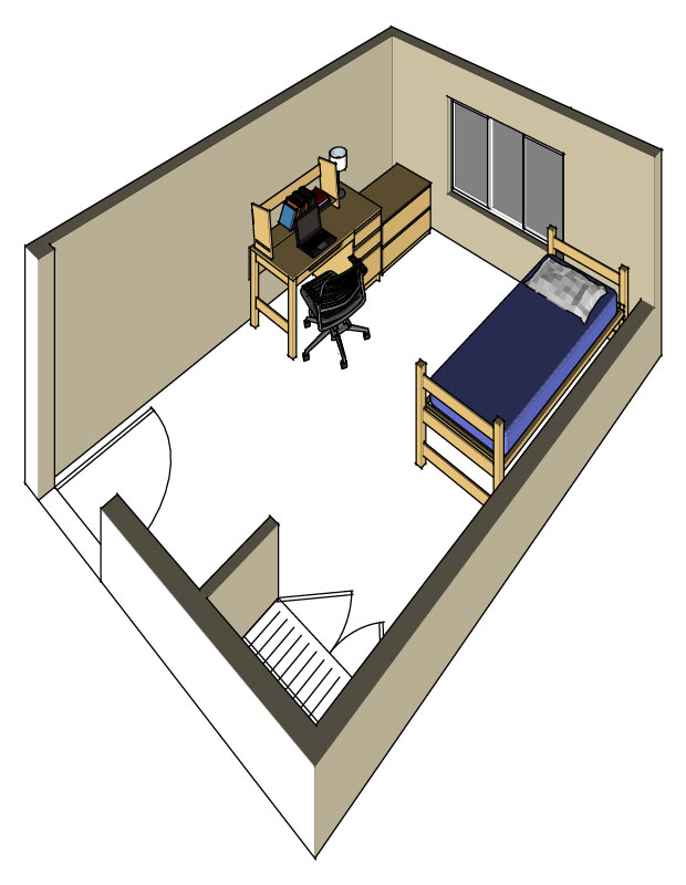 Illustration: projection of a Campbell Hall single-occupancy room