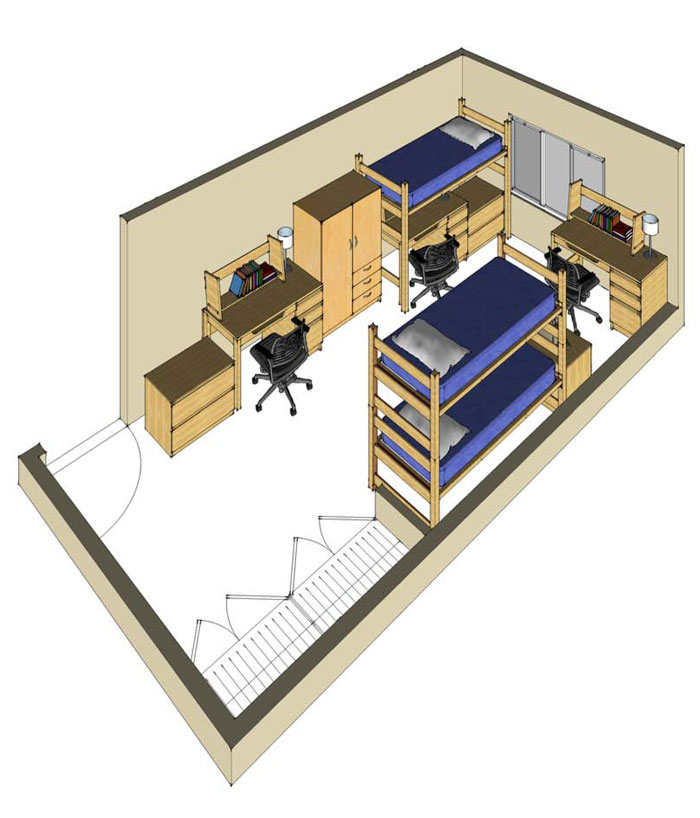 Illustration: projection of a Potter Hall triple-occupancy room