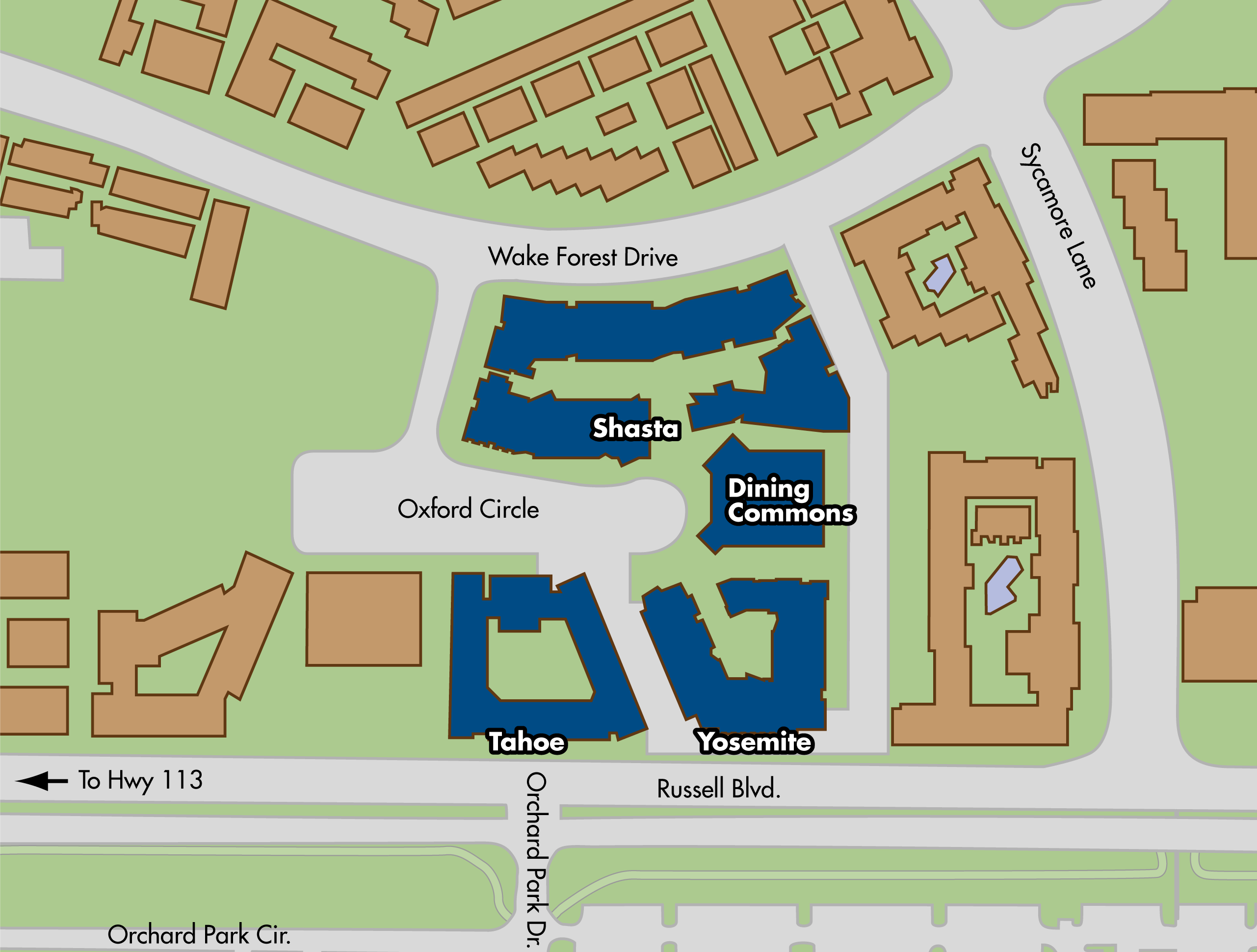 Map of Cuarto area residence halls locations on the UC Davis campus