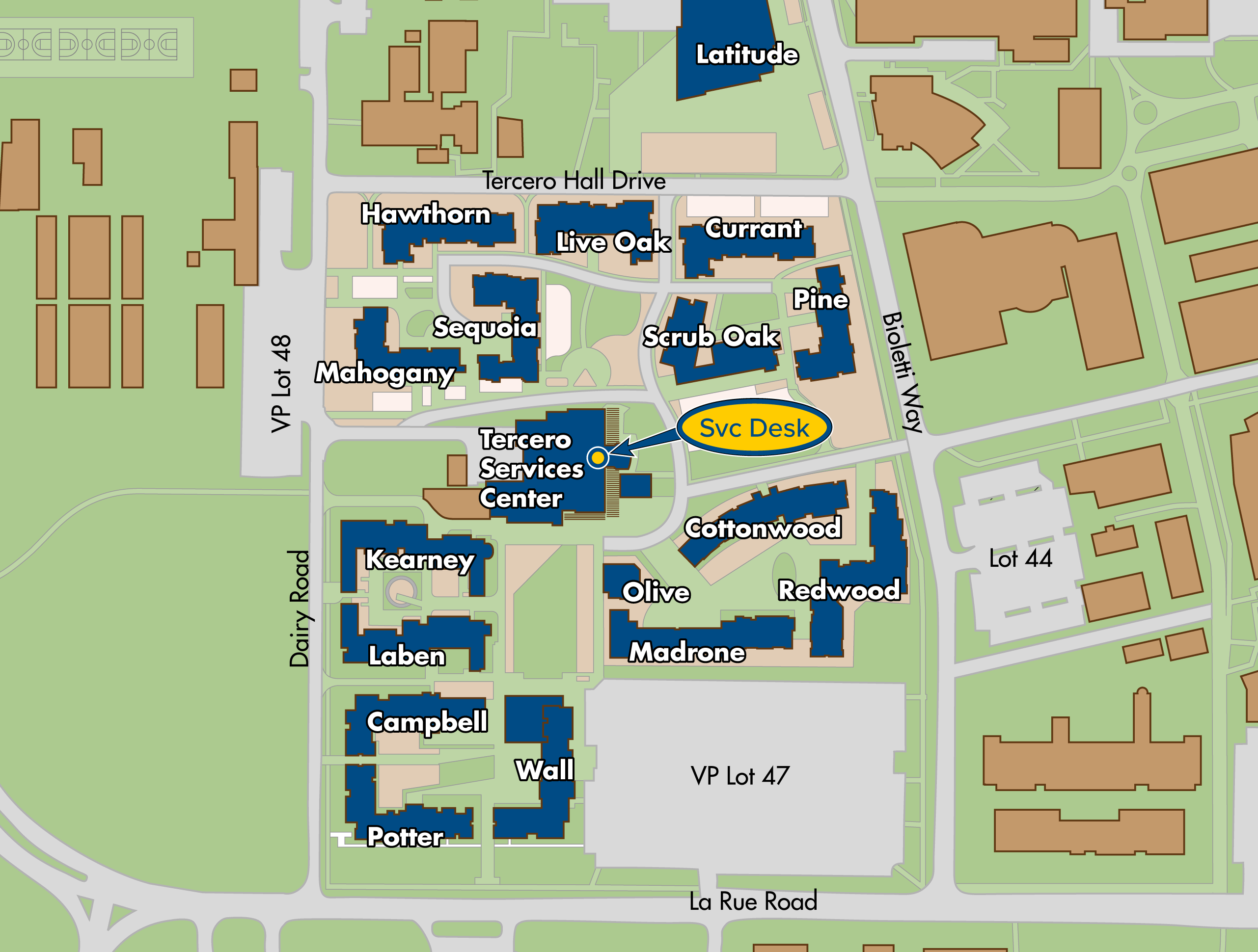 Map of Tercero area residence halls locations on the UC Davis campus