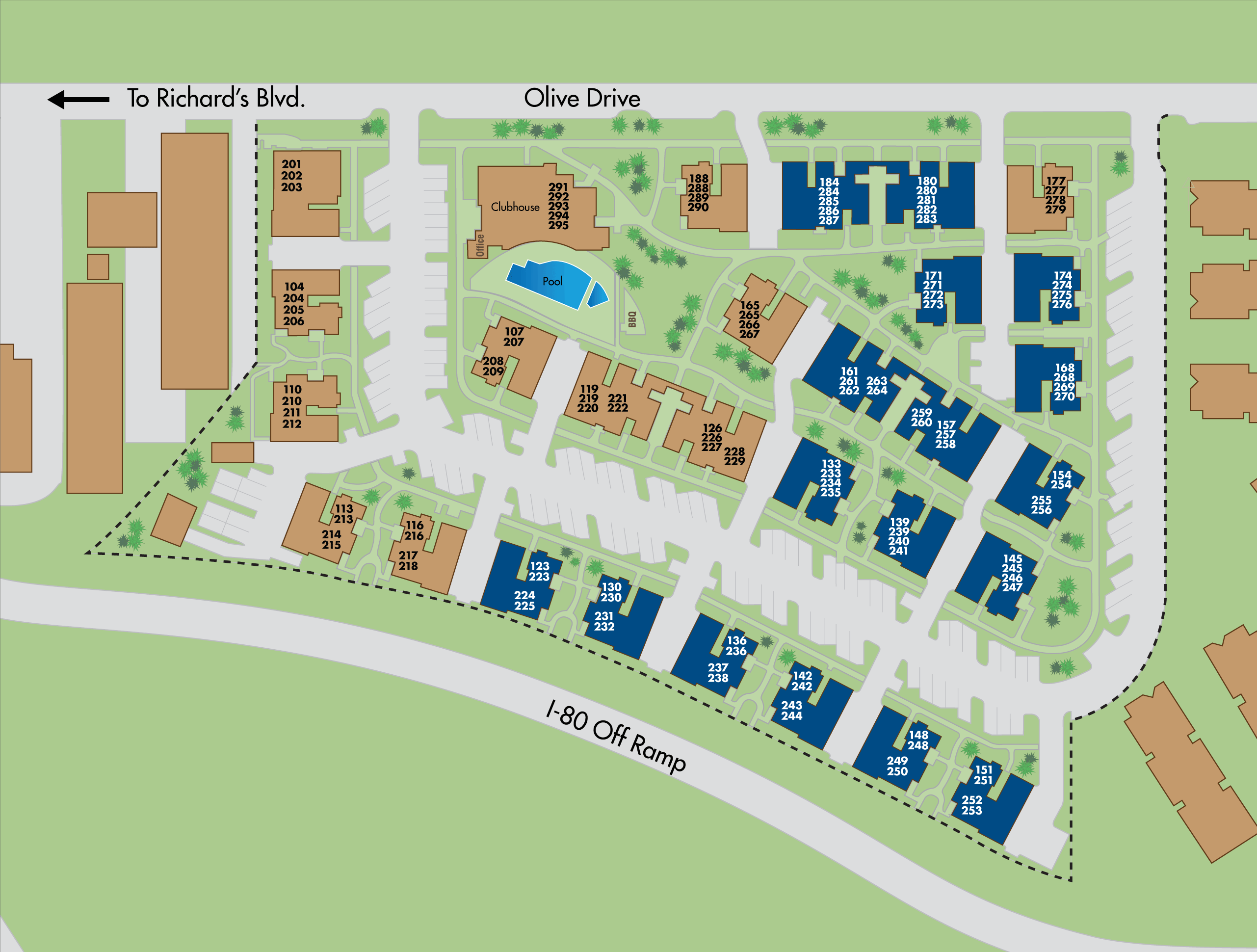 Map of The Lexington apartments