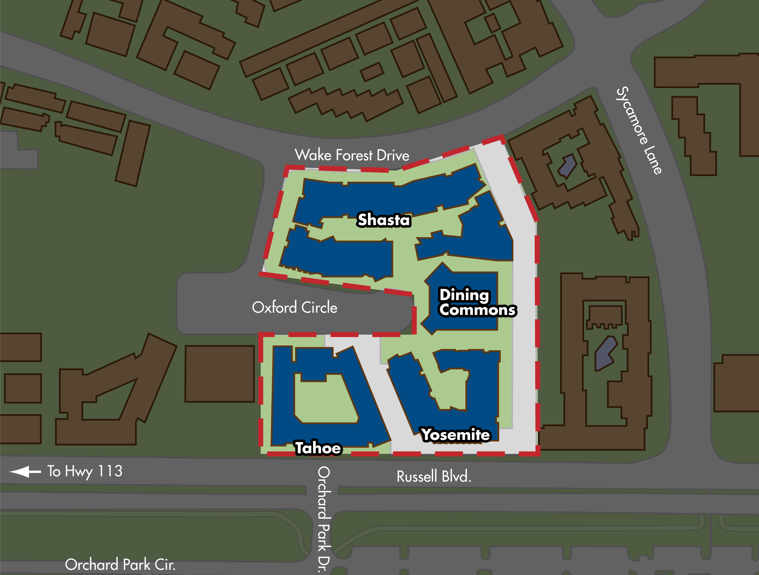 Map of the Cuarto residence hall area