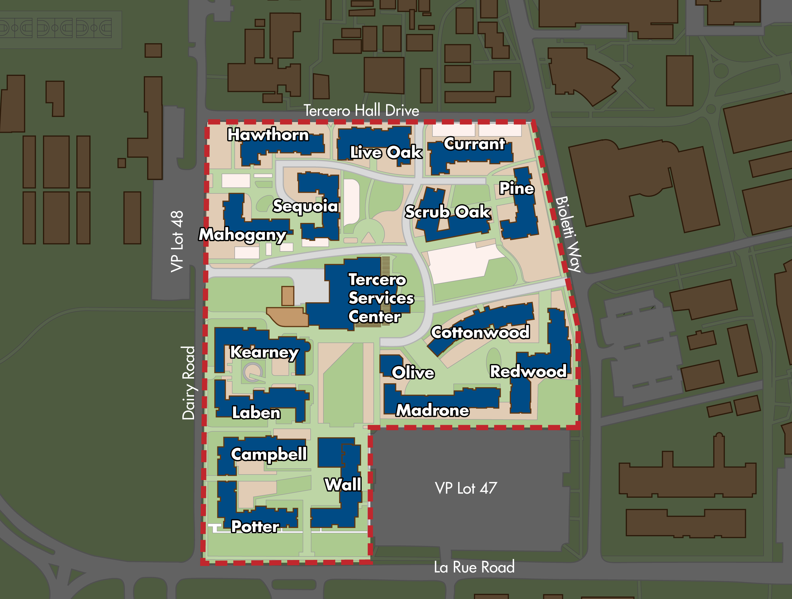 Map of the Tercero residence hall area