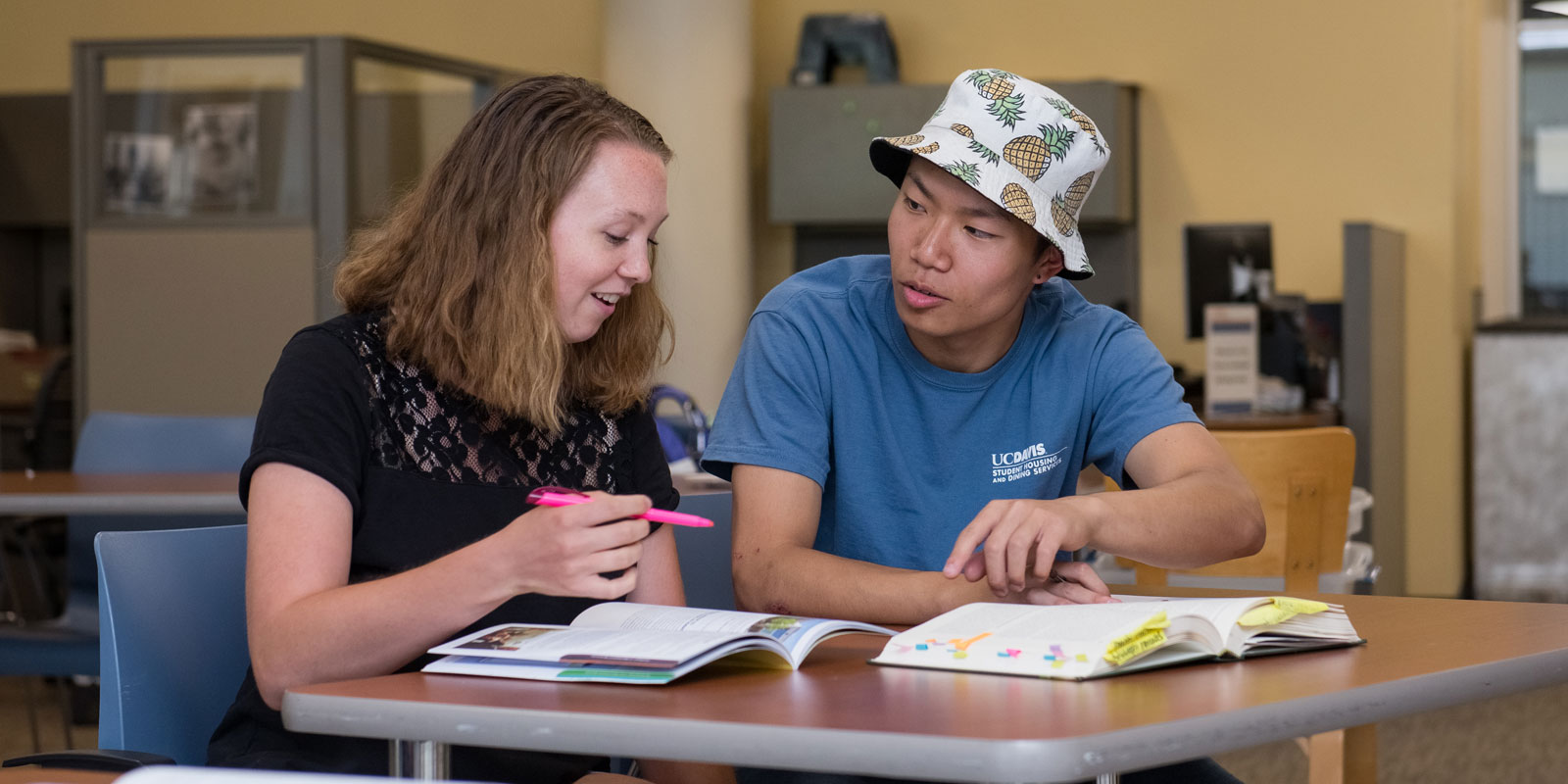 An Academic Peer Mentor works with a student