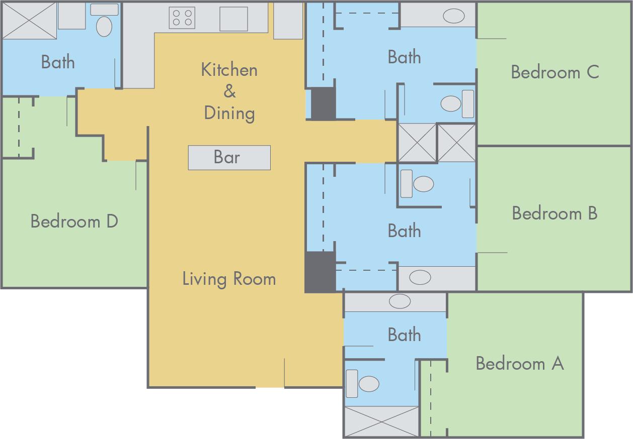 Adobe Apartments 4 Bedroom 4 Bathroom Flat