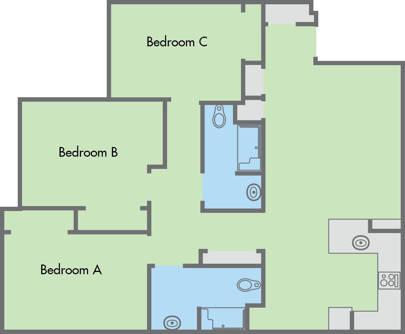 The Colleges Floor Plan 3 Bedroom 2 Bathroom