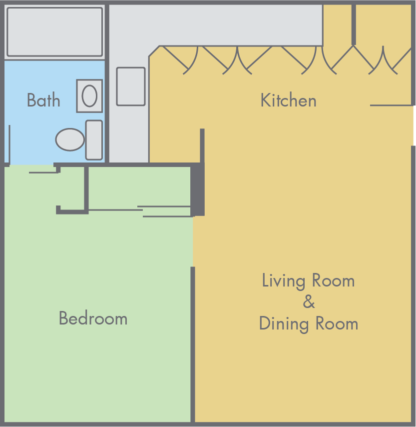 Solano Park 1 bedroom, 1 bathroom floor plan
