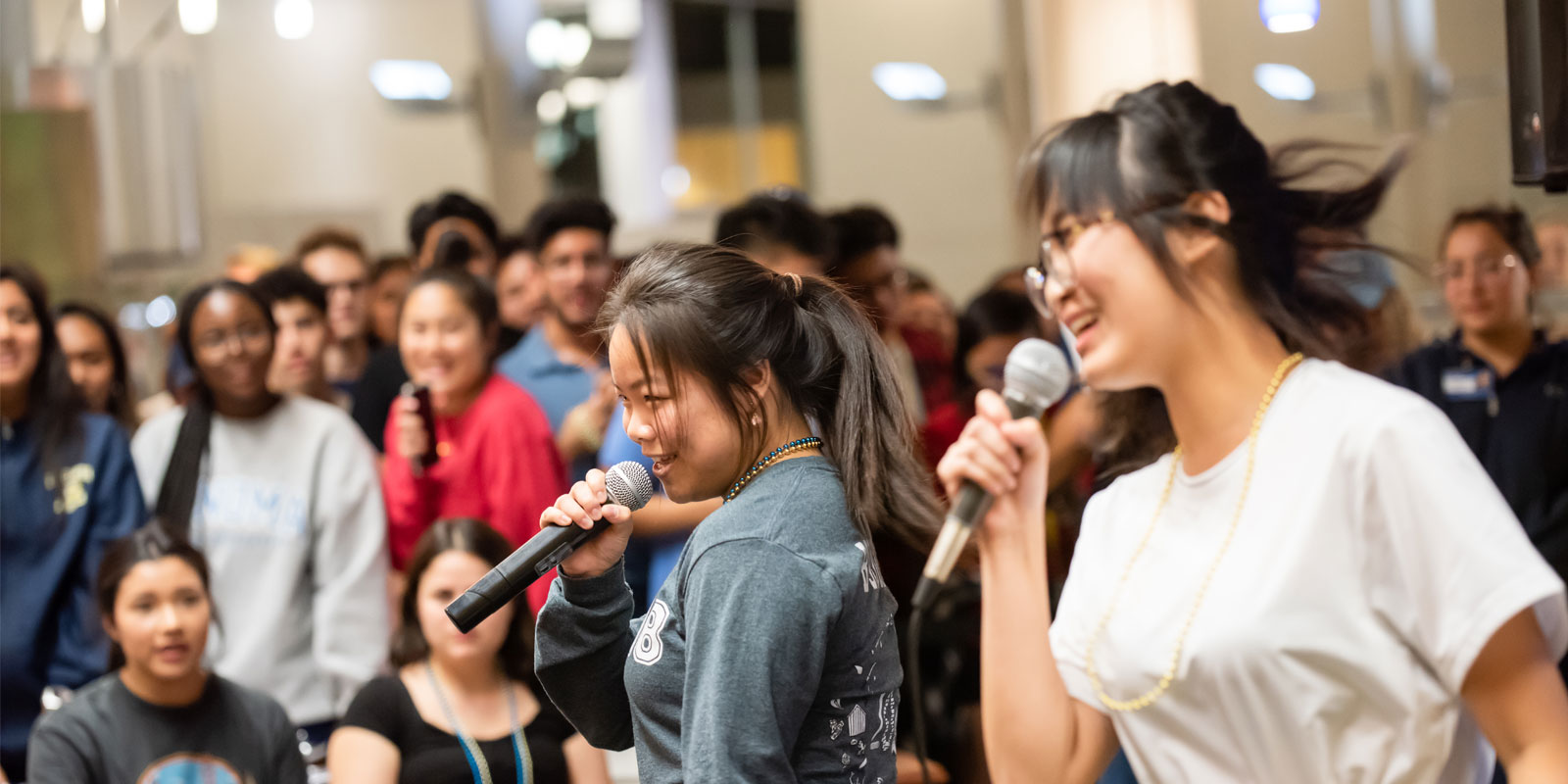 Late Night karaoke in the Segundo dining commons